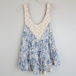 free people M tiered ruffle floral tank N18